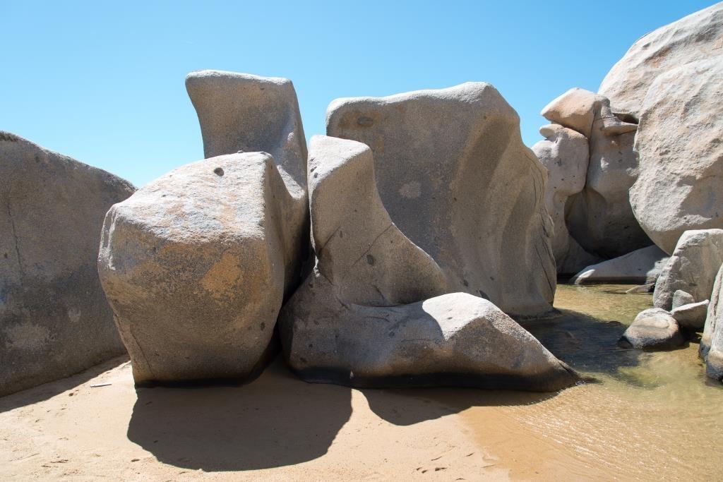Lavezzi Islands, granit rocks at the beack