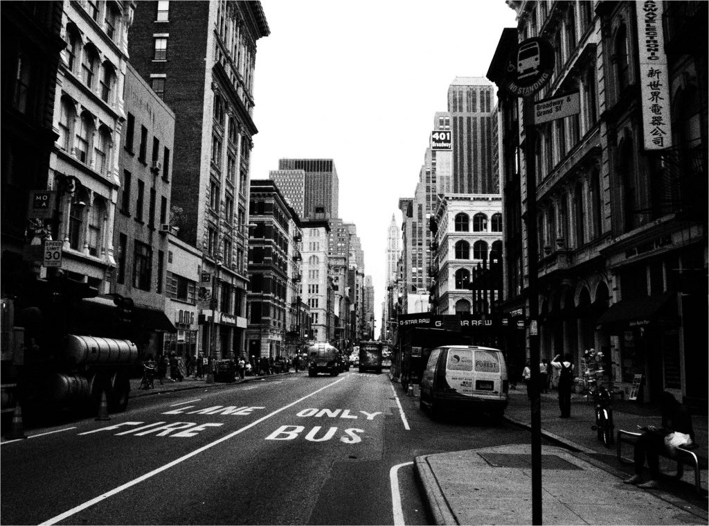 Manhatten 36th Street in black and white