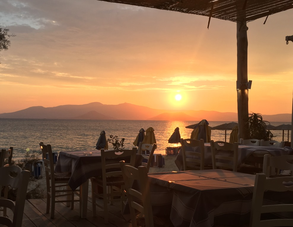 Maragas Beach Restaurant, sunset view of Paros
