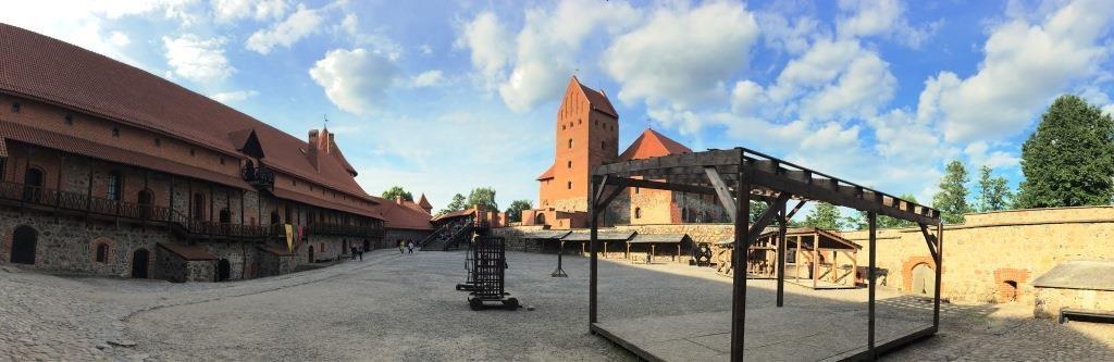 panorama of the inside courtyard of the Trakai Island Castle