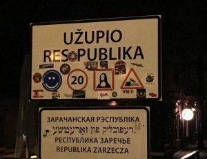 close-up of the The Republic of Uzupis sign