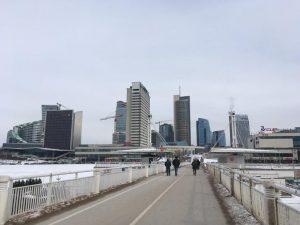 modern quarter of Vilnius, seen from the bridge across the Vilnia