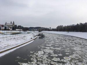Ice on the river Vilnia