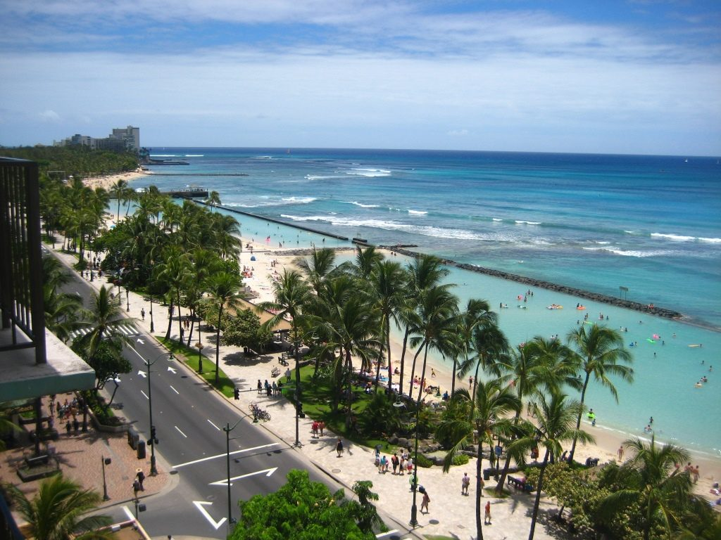 Waikiki Beach as seen from Aston Circle balcony