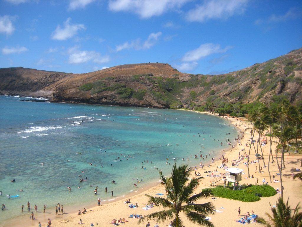crowded beach at Hanauma Bay
