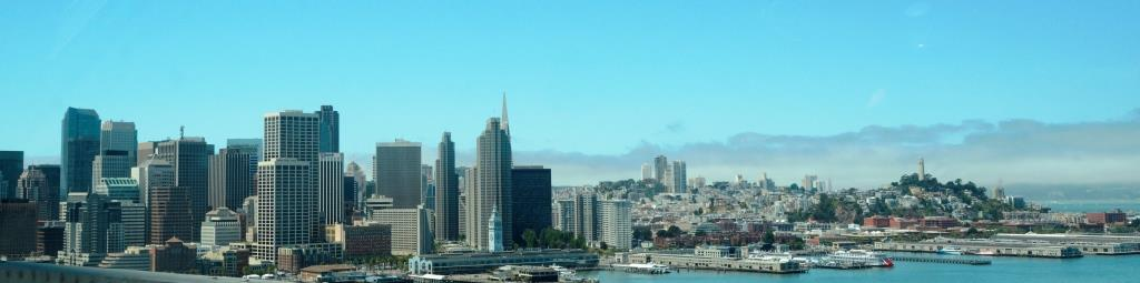 Panorama of San Francisco as seen from the Oakland Bay Bridge