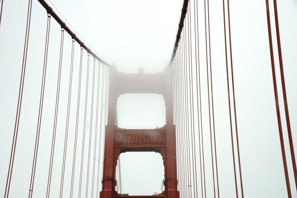 Golden Gate Bridge construction from lane