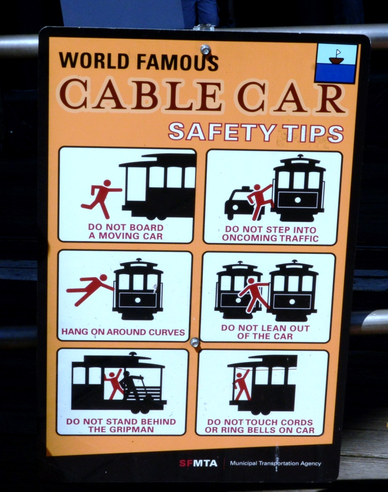 San Francisco cable car manual sign
