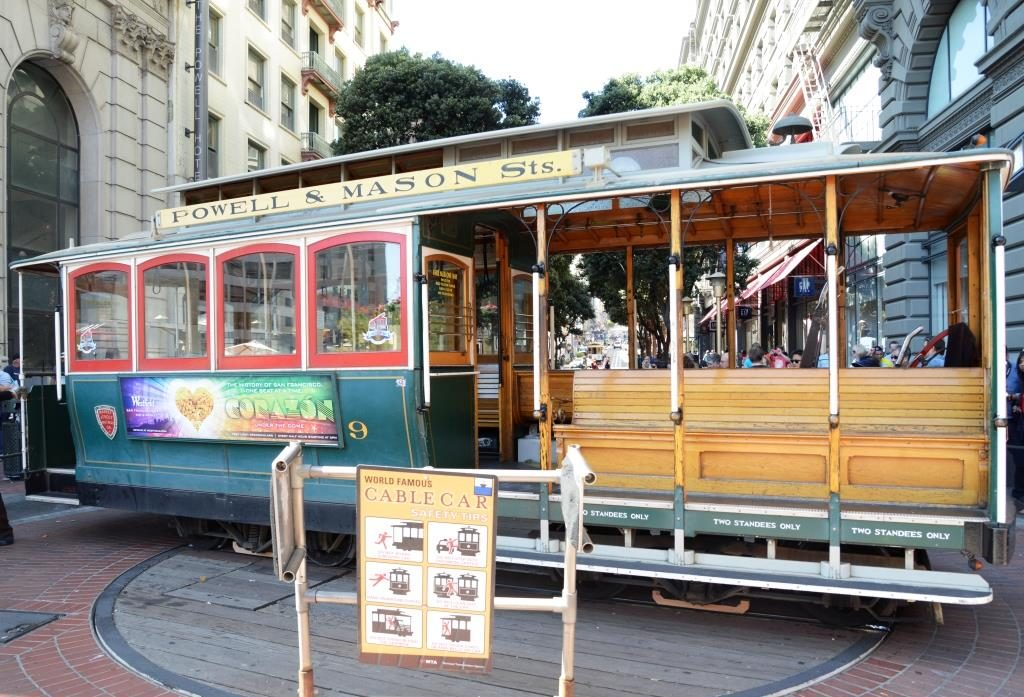 San Franisco cable car at urning point