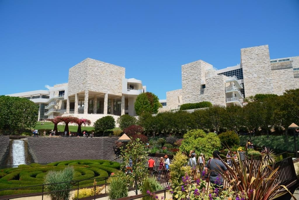 buildings of the Getty Museum as seen from the garden