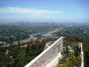 view from the Getty Museum garden to Downtown LA