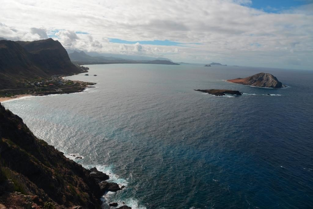 View from Makapu'u Point Lighthouse to the coast in northern direction