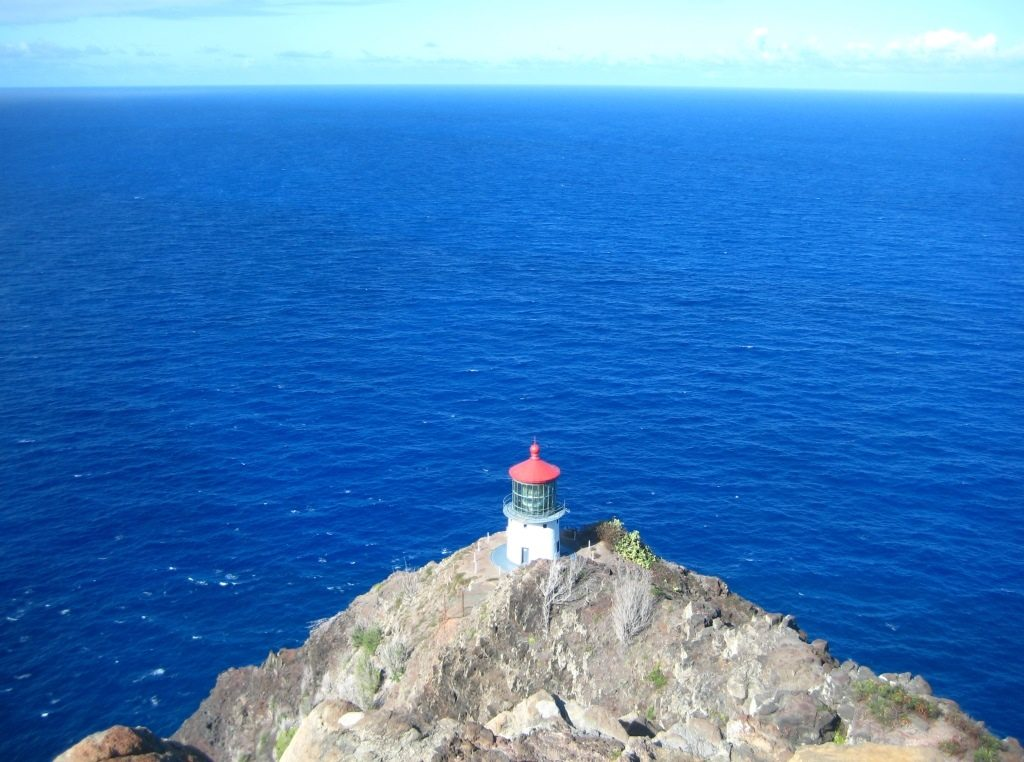 view of Makapu'u Point Lighthouse from above