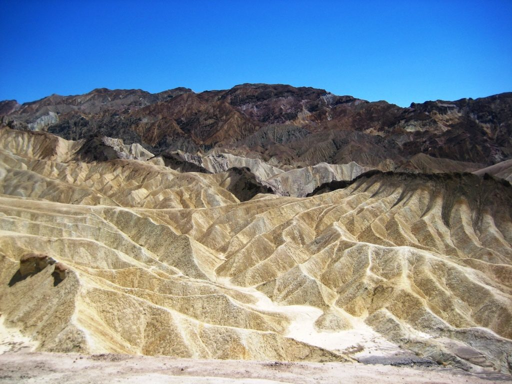 colorful rocks at Zabriskie Point in the Death Valley