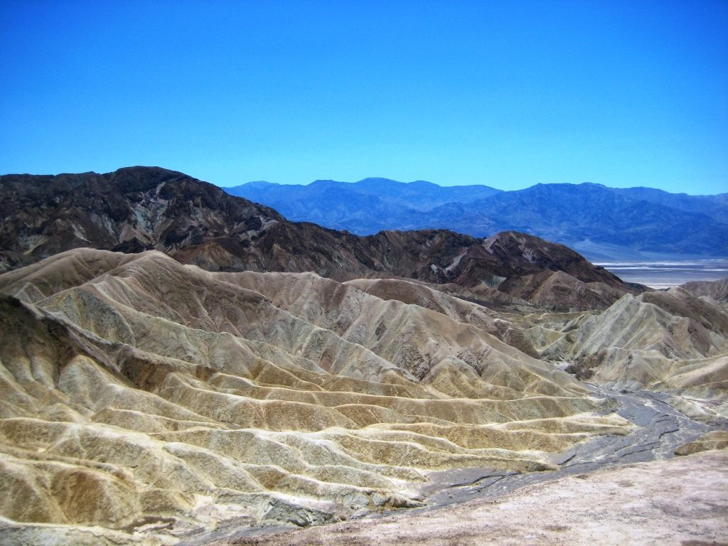 colorful rock formations and death valley view from Zabriskie Point