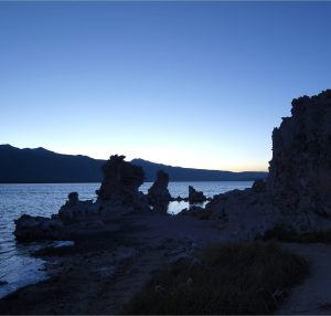 Tufa formations getting dark after sunset