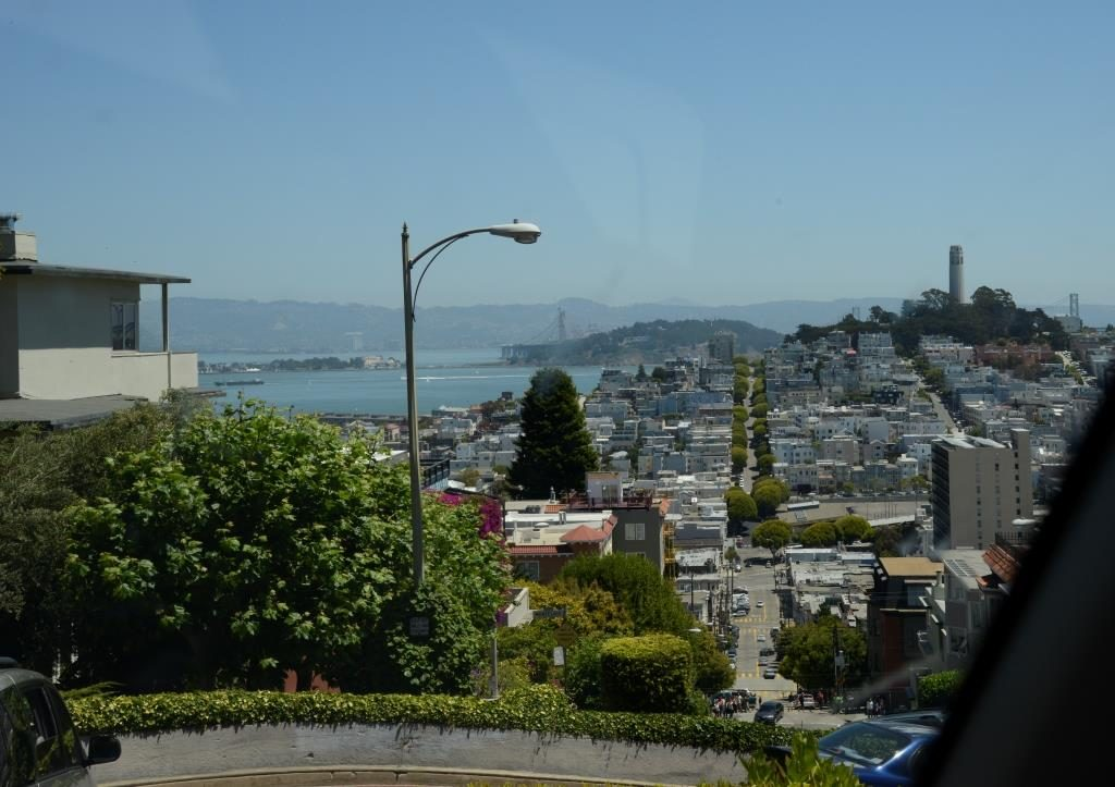 Lombard street from inside the car