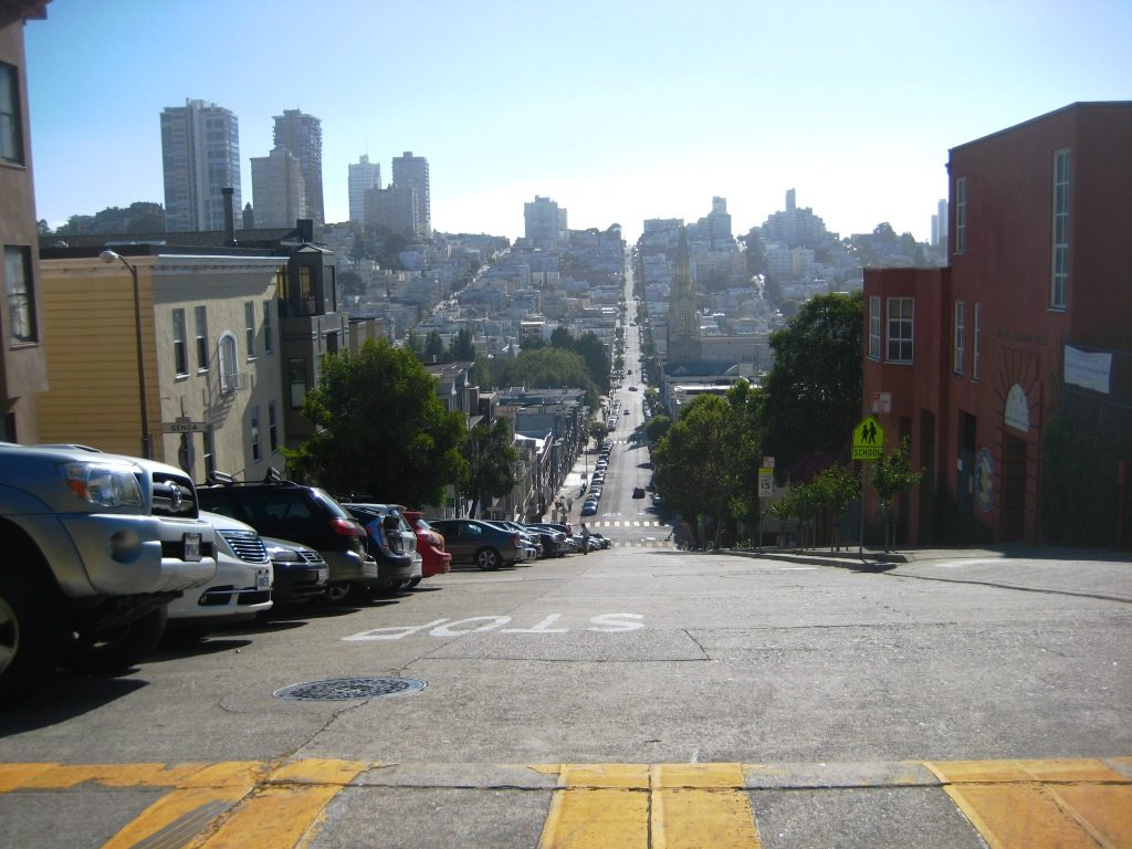 long steep street view from Russian Hill
