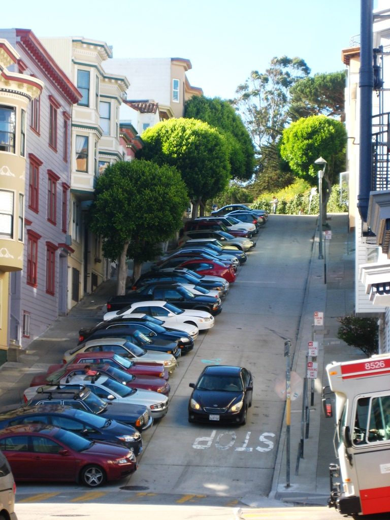 cars parked perpenticular to street in San Francisco