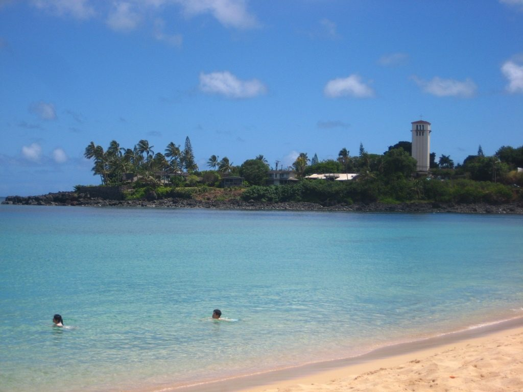 Waimea Bay, view from the left side to the tower