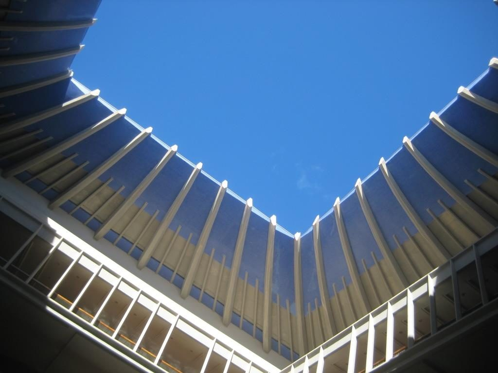 view from inside the Hawaii State Capitol to the sky