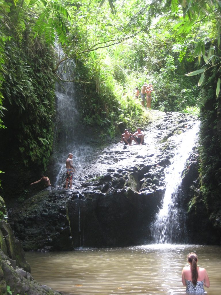 people swimming in the pond at the Manoa Falls