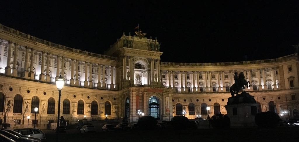 Hofburg front side by night