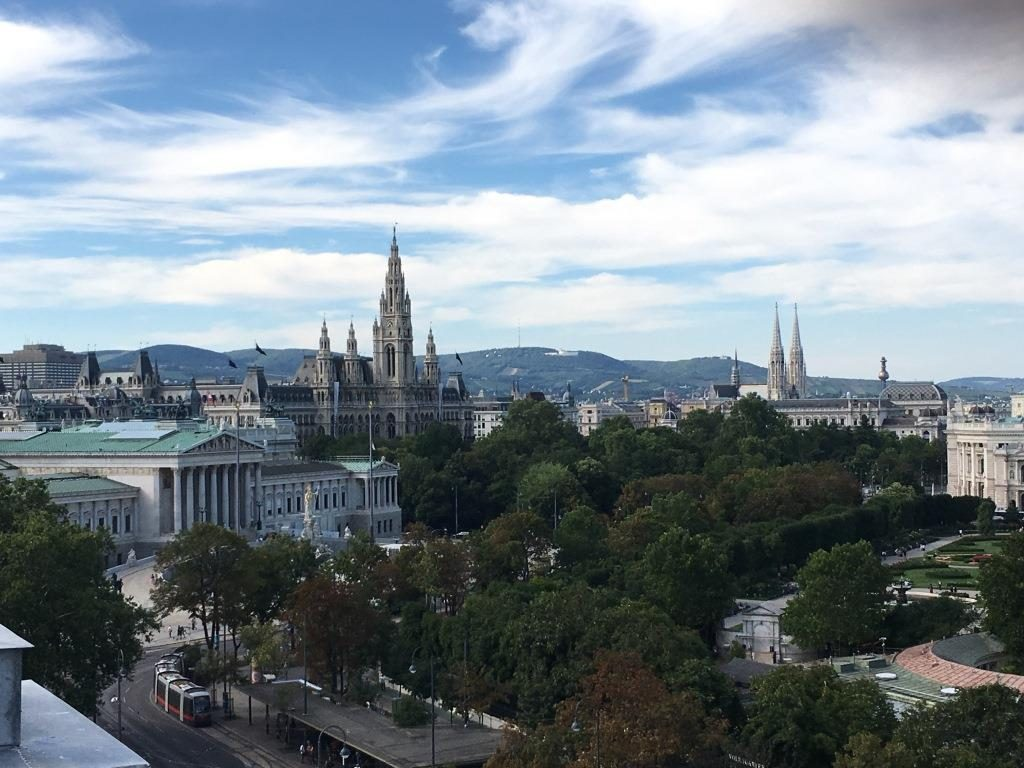 Vienna City Hall and People's Park seen from the Bell tower of St. Stephens Cathedral Vienna