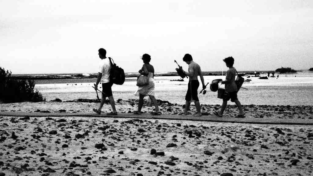 familiy walking on the beach
