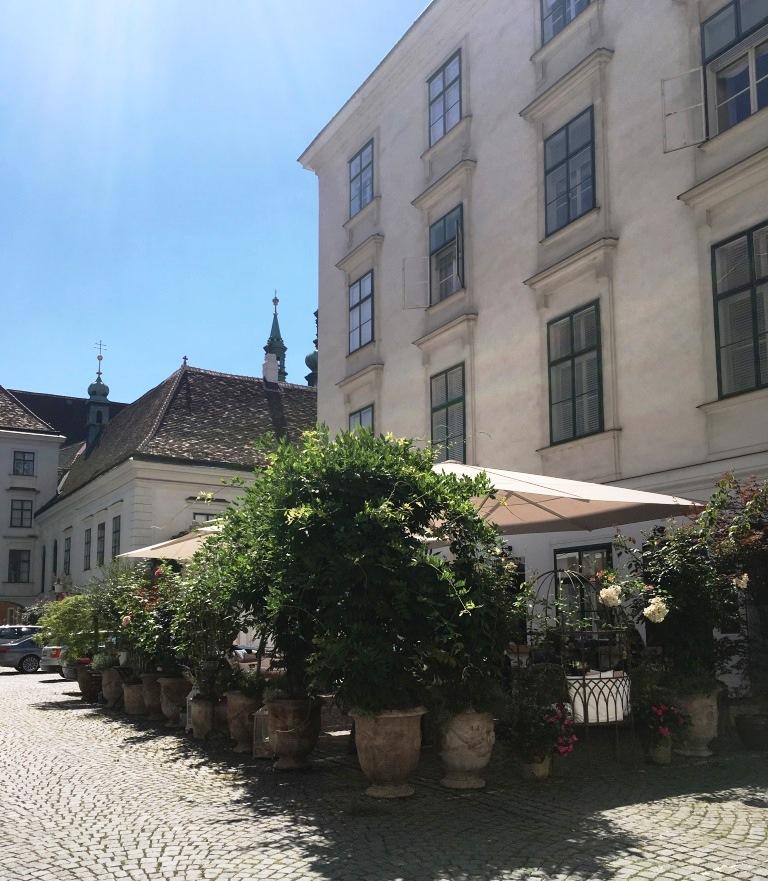 Entrance of the Restaurant Buchsbaum in Vienna