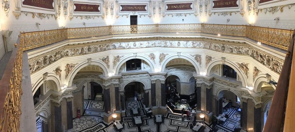 view from the top into the entrance hall of the museum of natural history Vienna