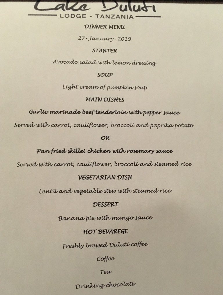 menu of the first dinner at Lake Duluti Lodge