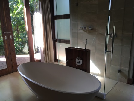 bathroom at lake duluti lodge