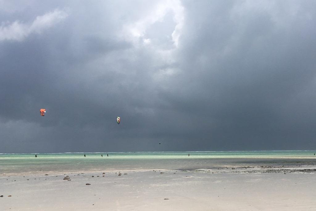 Kite surfer at Kiwengwa Beach