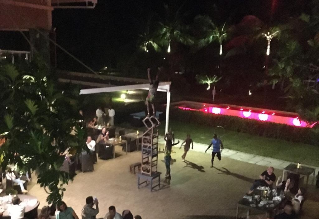 "acrobatic performance at the ""spices"" restaurant at Melia Zanzibar"